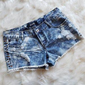 Rewash Acid Wash Distressed Frayed Jean Shorts 5